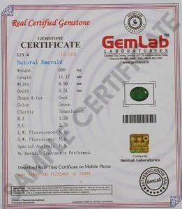 Emerald Certificate